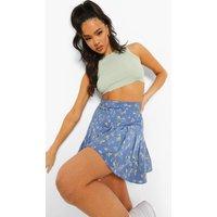 Womens Ditsy Floral Pleated Mini Tennis Skirt - Blue - 14, Blue