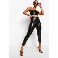 Womens Lace Up Leather Look Pu Leggings - Black - 12, Black