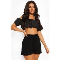 Womens Cheesecloth Drawstring Waist Flippy Shorts - Black - 8, Black