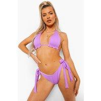 Womens Ribbed Tie Side Scoop Bikini Brief - Purple - 16, Purple