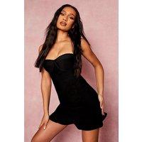 Womens Bandage Bandeau Frill Hem Mini Dress - Black - 10, Black