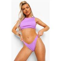 Womens Ribbed Mix And Match Cheeky Bikini Brief - Purple - 10, Purple