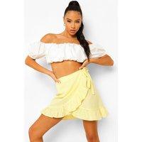 Womens Cotton Ruffle Wrap Mini Skater Skirt - Yellow - 12, Yellow