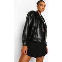 Womens Faux Leather Biker Jacket - Black - 8, Black