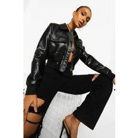 Womens Crop Pocket Detail Faux Leather Bomber Jacket - Black