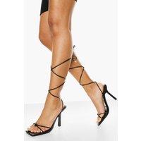 Womens Toe Post Wrap Up Sandal - Black - 3, Black