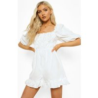 Womens Puff Sleeve Rouched Playsuit - White - 10, White