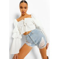 Womens Woven Puff Sleeve Lace Up Top - White - 10, White