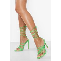Womens Pointed Toe Post Lace Up Heels - Green - 4, Green