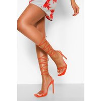 Womens Skinny Wrap Up Sandal - Red - 5, Red