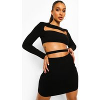 Womens Cut Out Crop And Skirt Knitted Co-Ord - Black - Xl, Black