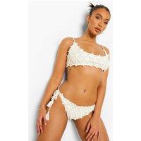 Womens Crochet Tie Side Bikini Brief - White - M, White