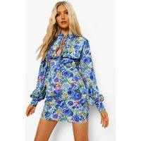 Womens Floral Print High Neck Mini Dress - Blue - 14, Blue
