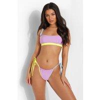 Womens Fuller Bust Contrast Binding Bikini Crop - Purple - 34Dd, Purple