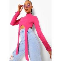 Womens High Neck Strap Detail Crop Top - Pink - 6, Pink