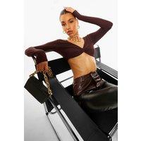Womens Twist Detail Long Sleeve Crop Top - Brown - 14, Brown