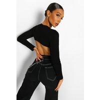 Womens Cut Out Back Long Sleeve Top - Black - 6, Black