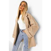 Womens Wide Sleeve Oversized Wool Look Jacket - Beige - 12,