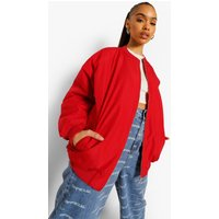 Womens Oversized Contrast Lining Bomber Jacket - Red - 12, R