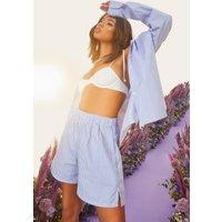 Womens Oversized Shirt & Mansy Shorts - Blue - 14, Blue