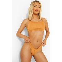 Womens Crinkle Fuller Bust Square Neck Bikini Top - Beige - 34F, Beige