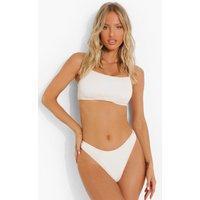 Womens Crinkle Fuller Bust Square Neck Bikini Top - Cream - 34Dd, Cream