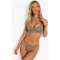 Womens Crinkle Fuller Bust Notch Neck Bikini Top - Green - 34Dd, Green