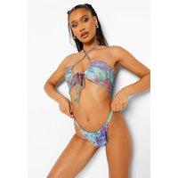 Womens Solar Print Double Side Strap Bikini Brief - Blue - 10, Blue