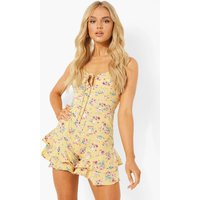 Womens Floral Print Frill Layer Hem Playsuit - Yellow - 10, Yellow