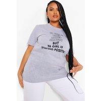 Womens Plus Ya Girl Is Tired T-Shirt - Grey - 18, Grey