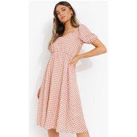 Womens Puff Sleeve Tie Back Midi Smock Dress - Brown - 12, Brown