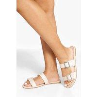 Womens Wide Fit Double Buckle Detail Sandals - Beige - 4, Beige