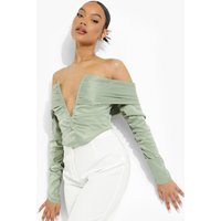 Womens Off The Shoulder Plunge Crop Top - Green - 14, Green