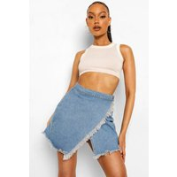 Womens Wrap Raw Edge Denim Skirt - Blue - 14, Blue