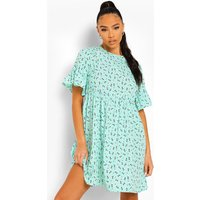 Womens Woven Ditsy Floral Smock Dress - Green - 10, Green