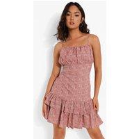 Womens Floral Ruffle Skirt Drop Hem Mini Dress - Pink - 14, Pink