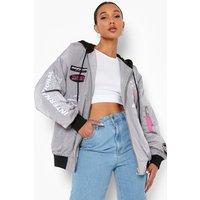 Womens Hooded Moto Bomber Jacket - Grey - 10, Grey