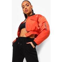 Womens Utility Pocket Bomber Jacket - Orange - 8, Orange