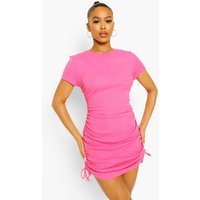 Womens Ruched Detail Premium Ribbed Dress - Pink - 16, Pink