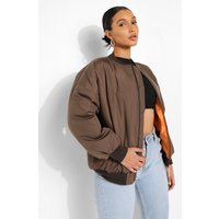 Womens Contrast Lined Bomber Jacket - Green - 12, Green