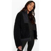 Womens Funnel Neck Teddy Faux Fur Jacket - Black - 8, Black
