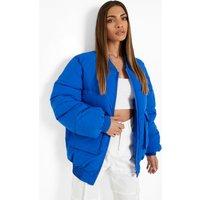 Womens Padded Oversized Bomber Jacket - Blue - 8, Blue