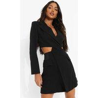 Womens Twist Cut Out Pocket Detail Blazer Dress - Black - 14, Black