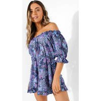 Womens Mixed Floral Off The Shoulder Ruffle Playsuit - Blue - 10, Blue