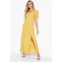 Womens Polka Dot Rouche Detail Side Split Maxi Dress - Yellow - 10, Yellow