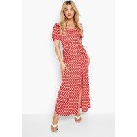 Womens Polka Dot Rouche Detail Side Split Maxi Dress - Red - 16, Red