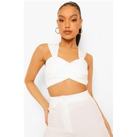 Womens Ruched Front Bralette - White - 14, White