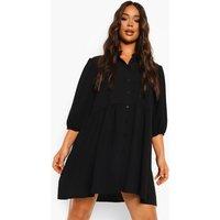 Womens Tiered Balloon Sleeve Smock Shirt Dress - Black - 14, Black