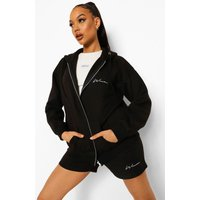 Womens Woman Zip Through Hoodie & Short Tracksuit - Black - 6, Black