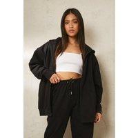 Womens Petite Recycled Oversized Zip Through Hoodie - Black - 6, Black